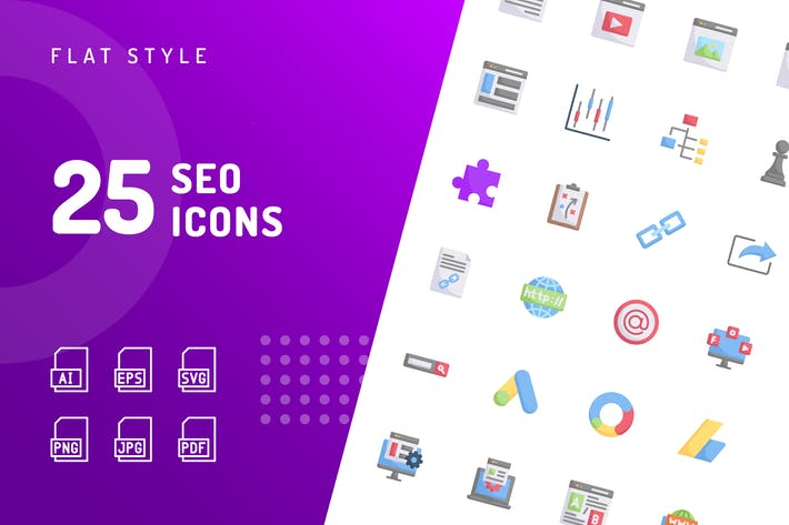 Thumbnail for SEO Flat Icons