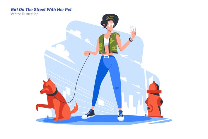 Thumbnail for Girl The Street Pet - Vector Illustration