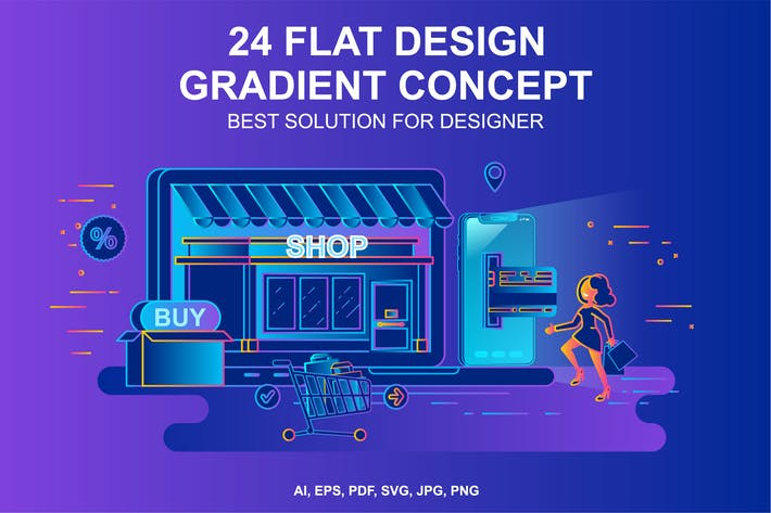 Cover Image For Gradient Flat Design Concepts