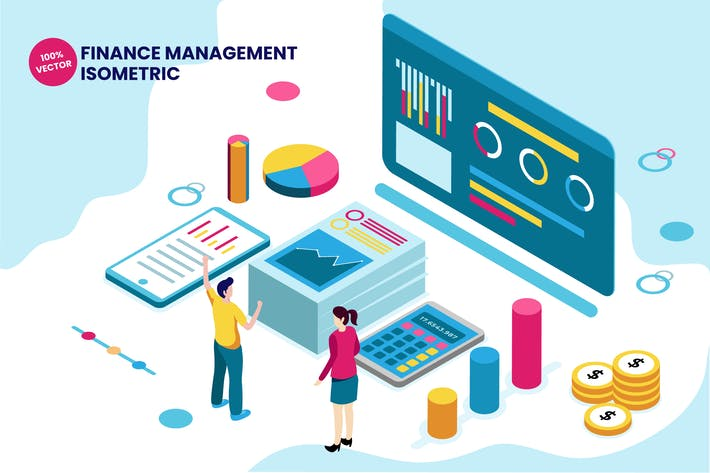 Thumbnail for Isometric Finance Management Vector Illustration