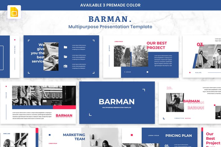 Cover Image For BARMAN - Multipurpose Presentation Google Slides
