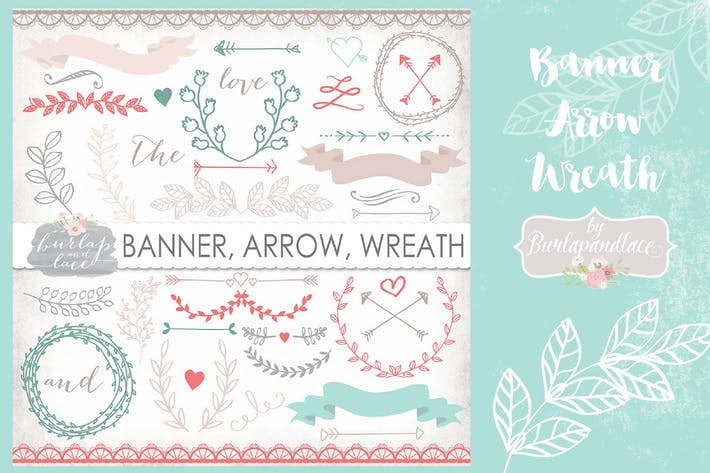 Thumbnail for Banner, Arrow, Wreath clip art