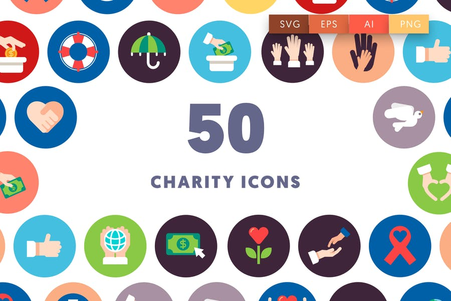 50 Charity Icons - product preview 0
