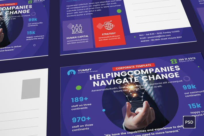 Thumbnail for Business,Corporate Postcard PSD Template