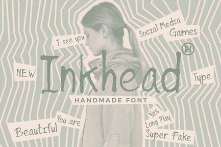 Inkhead Typeface|Pen Stroke Handmade Font