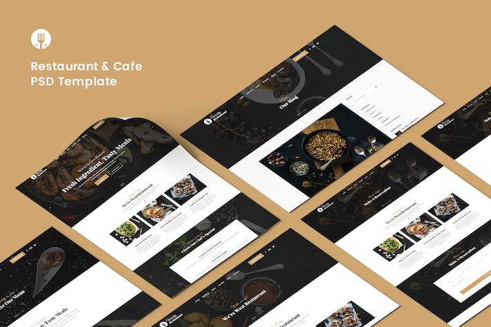 Thumbnail for Restaurant & Cafe PSD Template