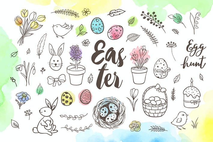 Thumbnail for Spring and Easter Doodle Design Kit