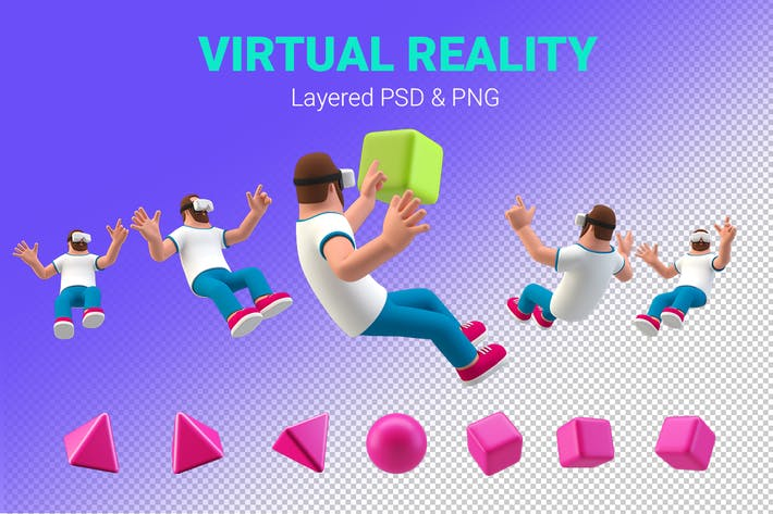 Thumbnail for Virtual Reality 3D illustration Man in VR glasses