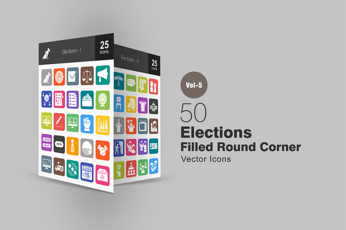 Thumbnail for 50 Elections Flat Round Corner Icons