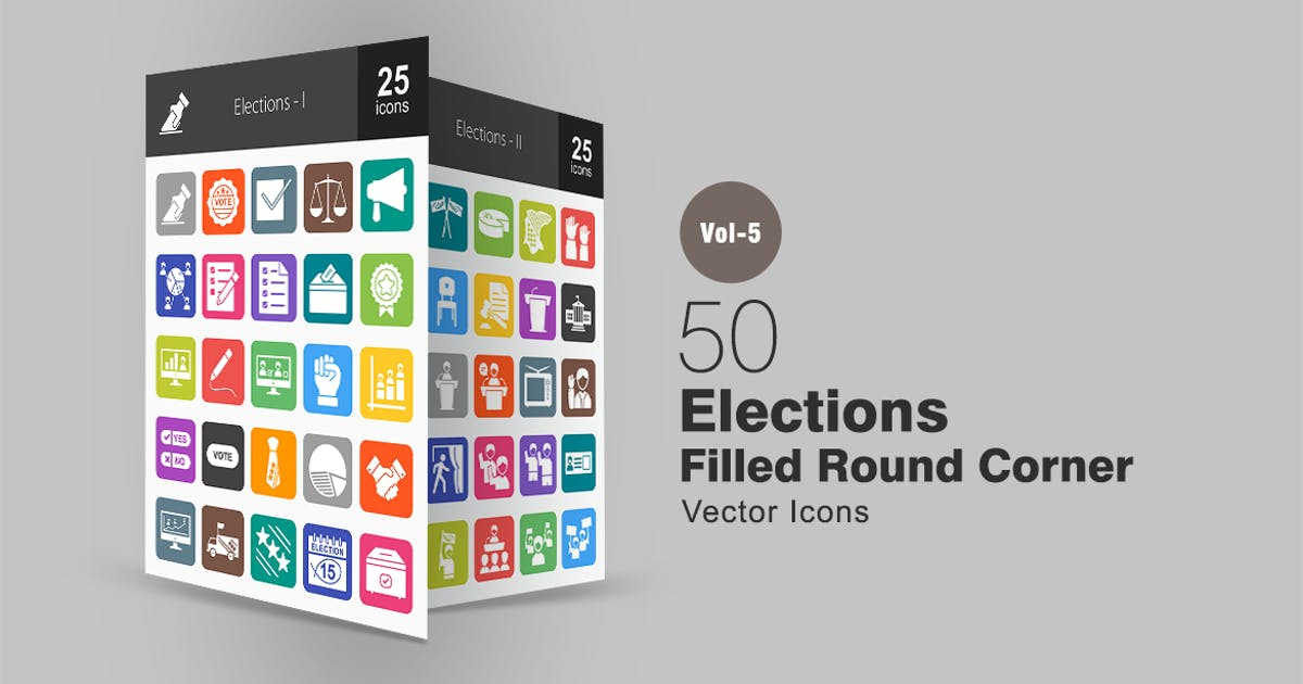Download 50 Elections Flat Round Corner Icons by IconBunny
