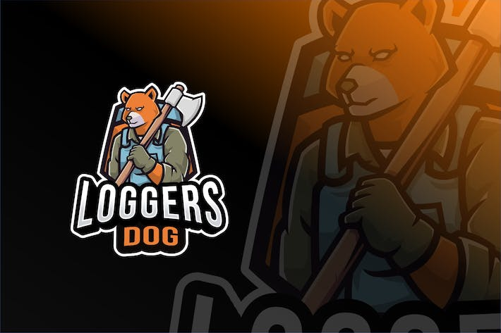 Thumbnail for Loggers Dog Logo Template