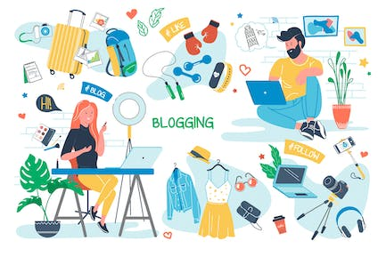 Blogging Concept Isolated Elements Set