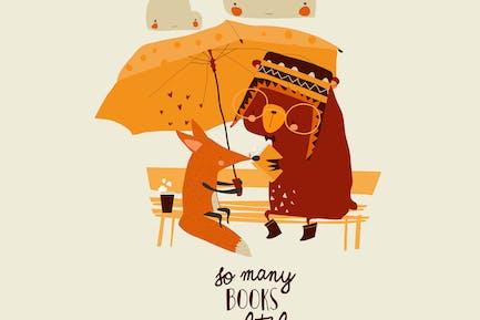 Animales divertidos leyendo libro bajo el paraguas. Vector