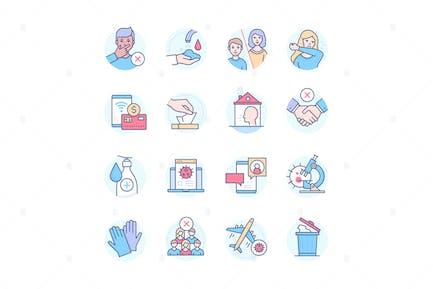 Coronavirus protective measures - colorful icons
