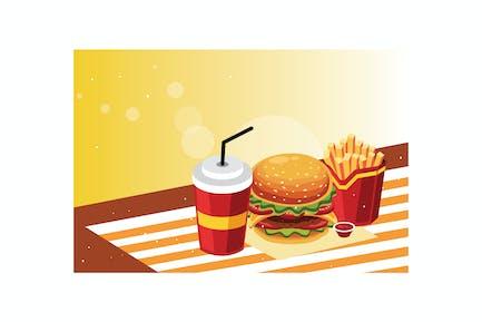 Burger und Pommes mit kaltem Getränk