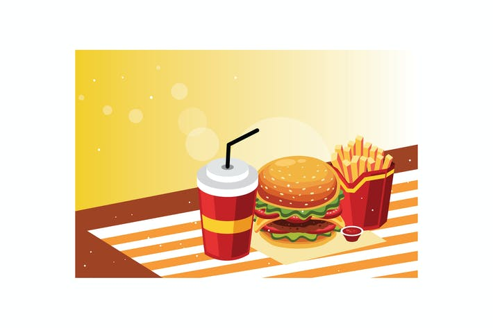 Thumbnail for Burger and fries with cold drink