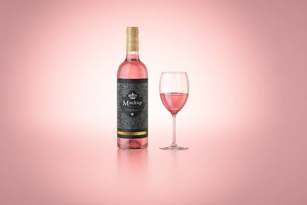 Rose Wine with glass Bottle Mockup
