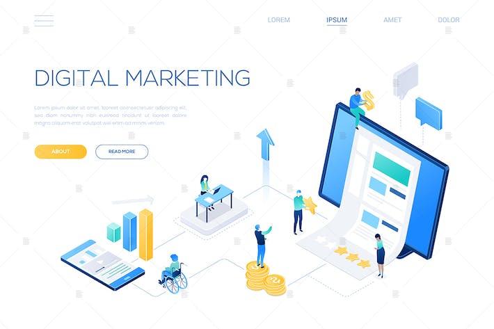 Thumbnail for Digital marketing - modern isometric web banner