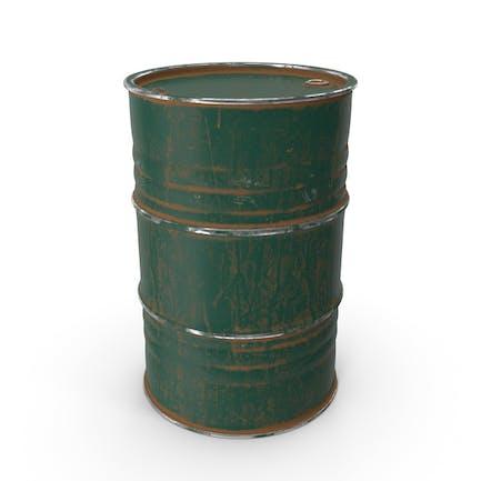 Barril de metal pintado verde