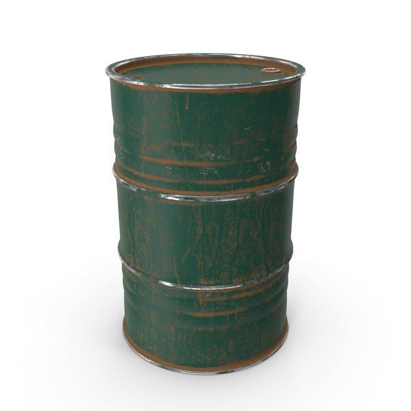 Metal Barrel Painted Green