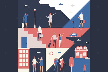 Tourists - flat design style illustration