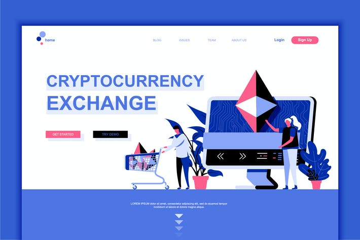 Thumbnail for Cryptocurrency Exchange Flat Landing Page Template