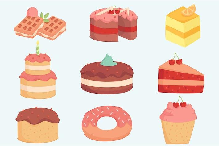 Thumbnail for День рождения торт украшения Иллюстрация Set