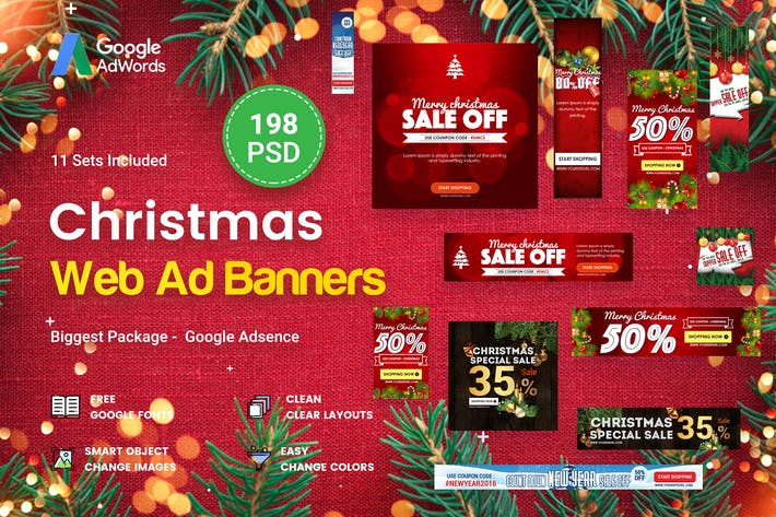 Thumbnail for Christmas Banners Ad - 198 PSD