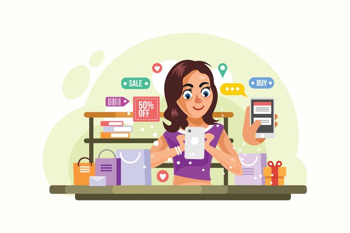 Thumbnail for Woman buying things at Online Store Illustration