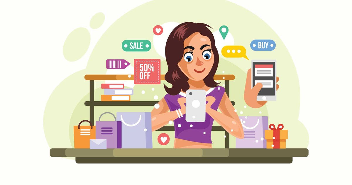 Download Woman buying things at Online Store Illustration by IanMikraz