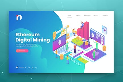 Isometric Ethereum Web PSD and AI Vector Template
