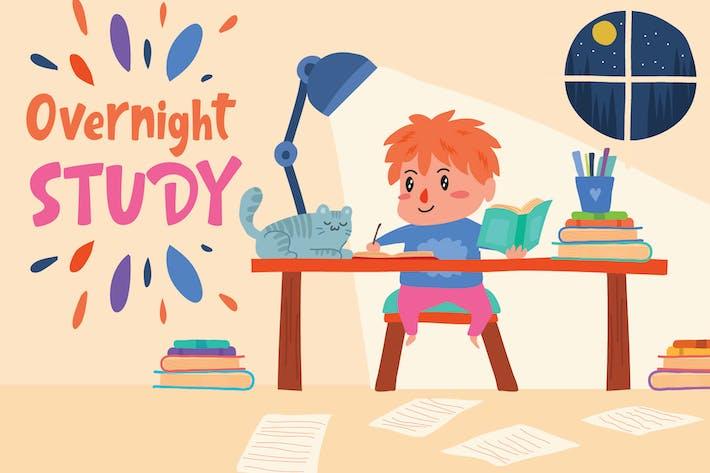 Thumbnail for Overnight Study - Vector Illustration