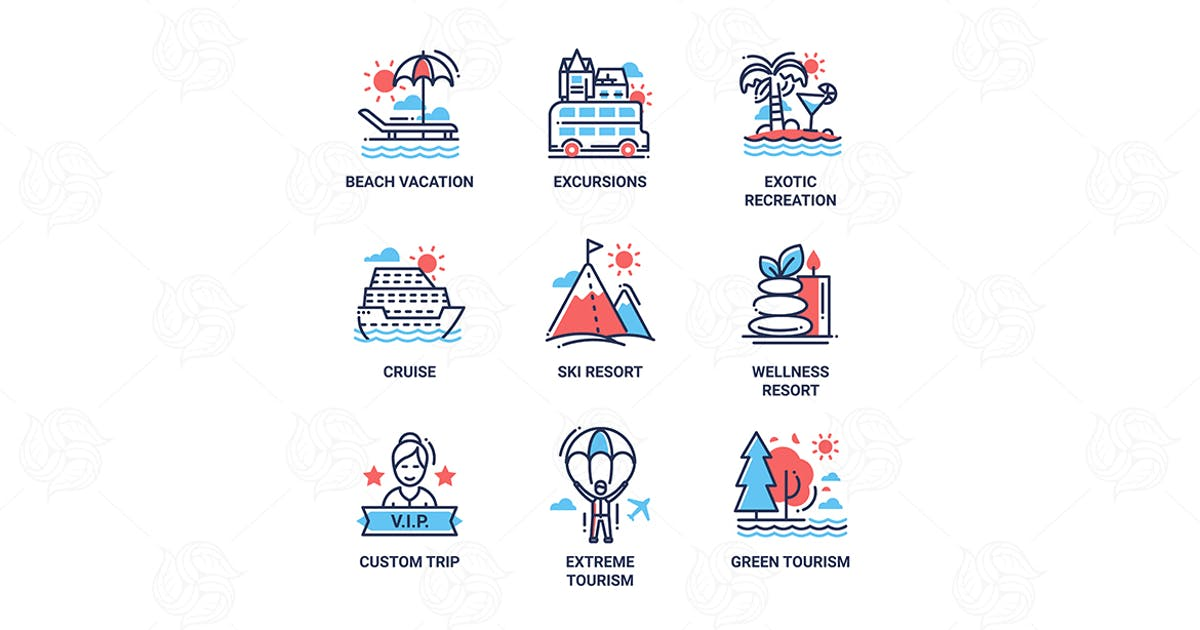 Tourism- modern color vector single line icon set by Unknow