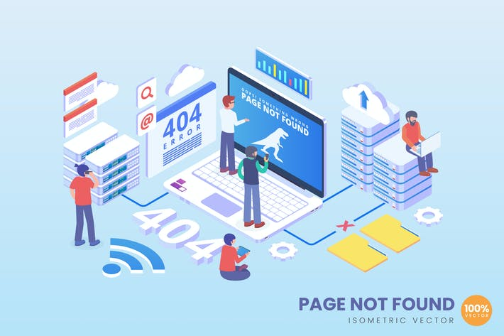 Thumbnail for Isometric Error 404 Page Not Found Vector Concept