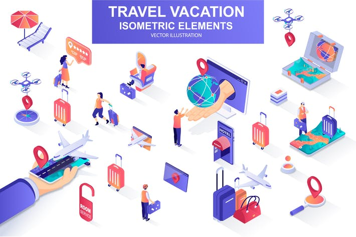 Thumbnail for Travel Vacation Isometric Design Elements