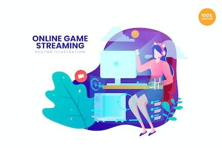 Online Game Streaming Vektor Illustration Konzept