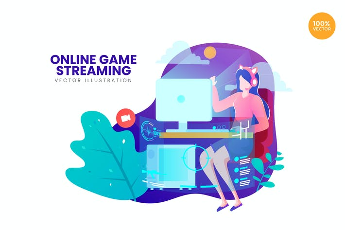 Thumbnail for Online Game Streaming Vector Illustration Concept