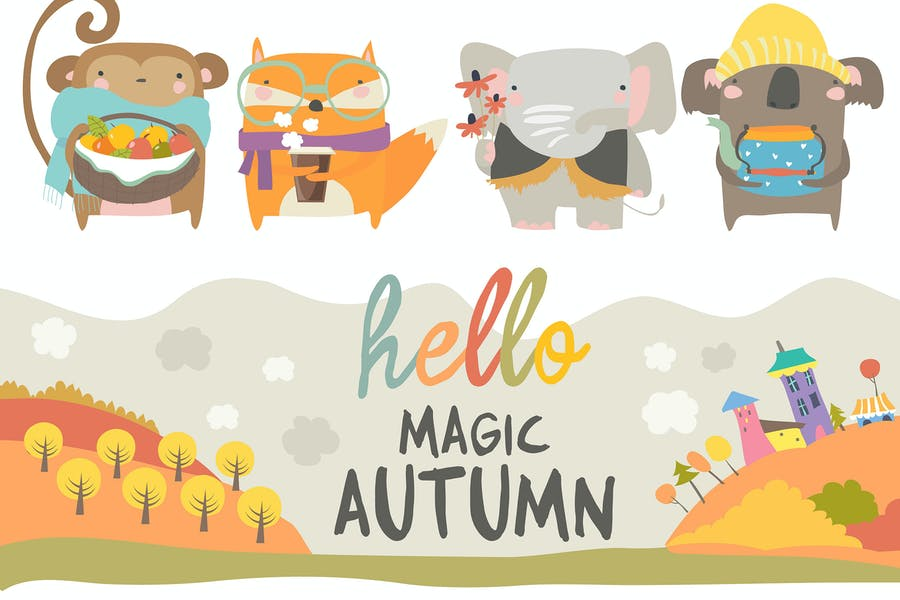 Vector set of cute animals with autumn theme