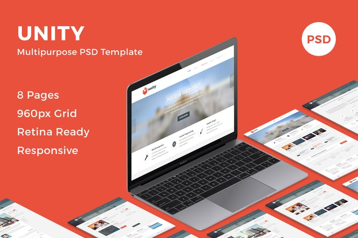 Thumbnail for Unity - Multipurpose PSD Template