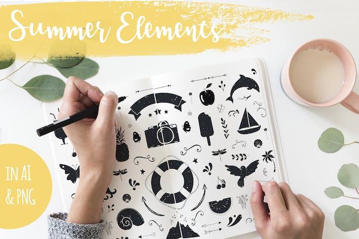 Thumbnail for Ilustraciones dibujadas a mano de verano
