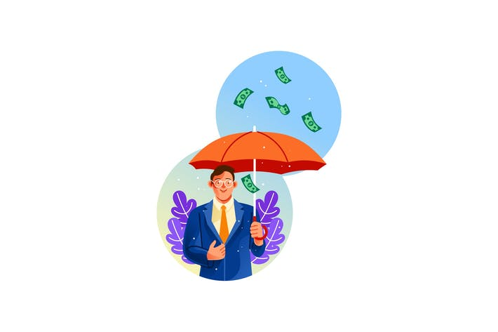 Hombre de negocios sosteniendo un paraguas bajo lluvia de dinero