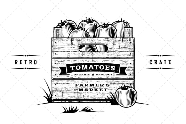 Cover Image For Retro Crate Of Tomatoes Black And White