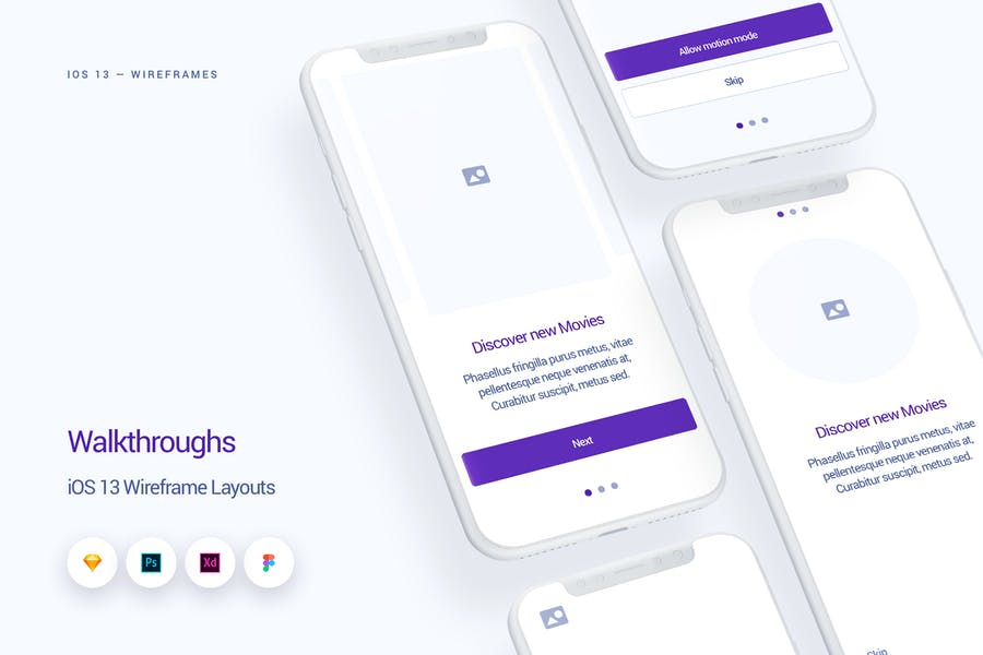 Walkthroughs - iOS 13 Wireframe Kit