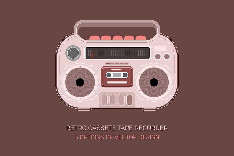Retro Cassette Tape Recorder 3 vector designs
