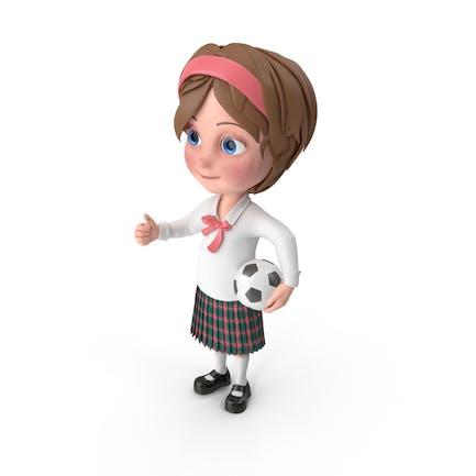 Cartoon Girl Meghan Playing Soccer