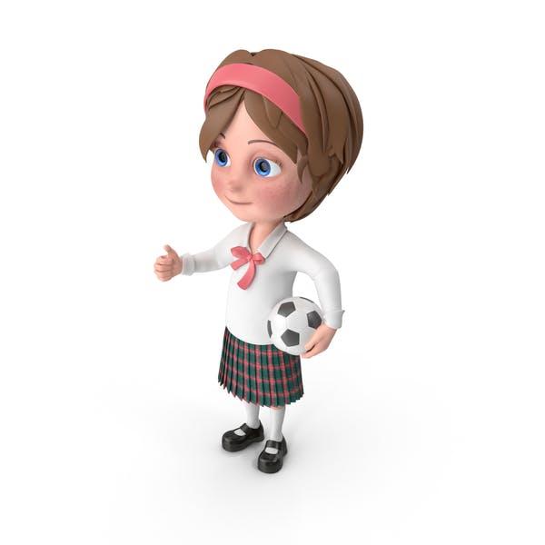 Thumbnail for Cartoon Girl Meghan Playing Soccer