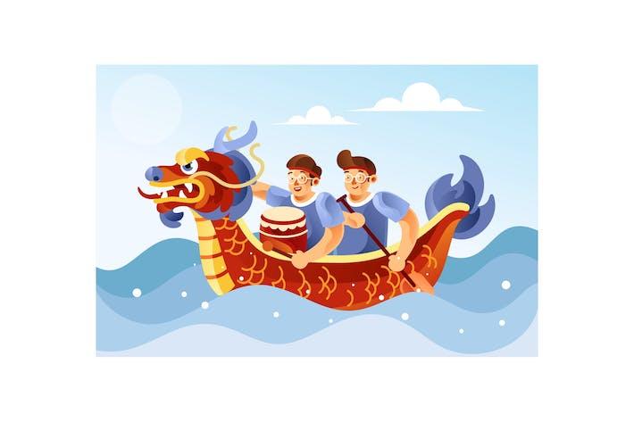 Thumbnail for Chinese Dragon Boat Festival illustration