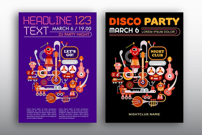 Thumbnail for Nightclub Disco Party vector poster designs