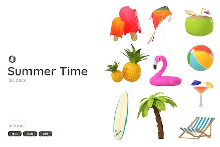 Summer time 3D object pack