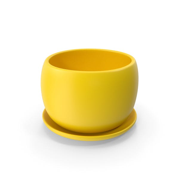 Keramiktopf mit Teller Gelb